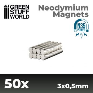Green Stuff World   Magnets Neodymium Magnets 3x0.5mm - 50 units (N35) - 8436554365500ES - 8436554365500
