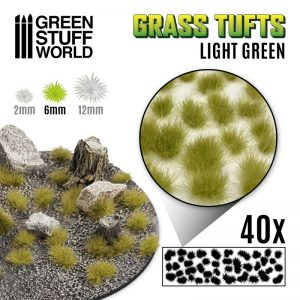 Green Stuff World   Tufts Grass TUFTS - 6mm self-adhesive - LIGHT GREEN - 8435646501628ES - 8435646501628