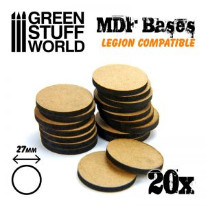 Green Stuff World   MDF Bases MDF Bases - Round 27mm (Legion) - 8435646502281ES - 8435646502281