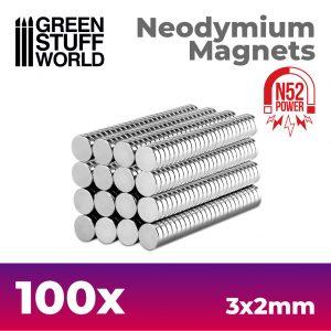 Green Stuff World   Magnets Neodymium Magnets 3x2mm - 100 units (N52) - 8436554367634ES - 8436554367634
